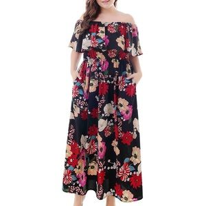 Dresses & Skirts - 🌺Plus Size Floral 2-in-1 Ruffle Maxi Dress, 14-20